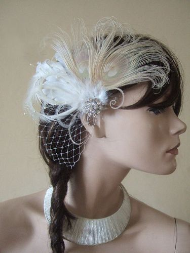 Bridal Fascinator Cream Champagne Peacock & Goose Nagoire Feathers Crystal Brooch Veil Clip Rustic Wedding